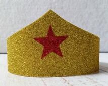 Superhero tiara; glittery gold crown headband; sparkly gold tiara; super hero head band with red star