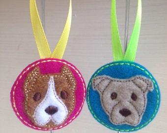 Pit Bull Ornament Set