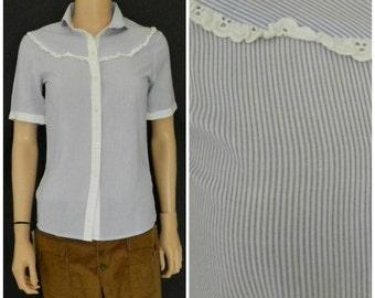 SALE Vintage 1970's pinstripe Mary Poppins prairie Edwardian blouse SM