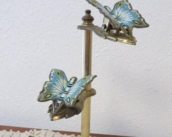 Vintage Brass Butterfly Clip Display Stand Note Holder - Desk Message Holder / Receipt - Brass letter Holder