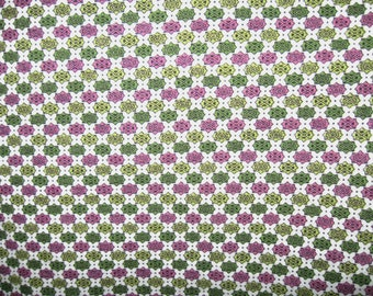 Vintage Flour Sack, Green and Purple Geometric Design,  Feed Sack Fabric, lot 9