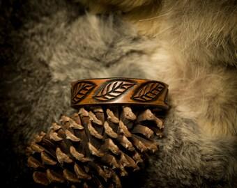 Leather Leaf Woodland Nature Bracelet Cuff
