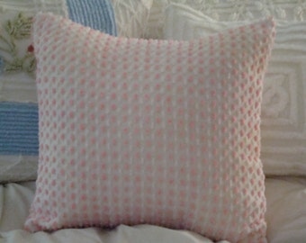 "REDUCED PRICE-Pink Vintage Popcorn/Tufted Chenille Pillow Cover for 16"" Pillow Insert Was 25.00 Now 20.00"