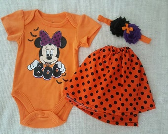 3 PIECES. Size Newborn. Minnie Inspired. BOO. Orange outfit.  POLKADOTS Skirt. Baby skirt.  My First Halloween.