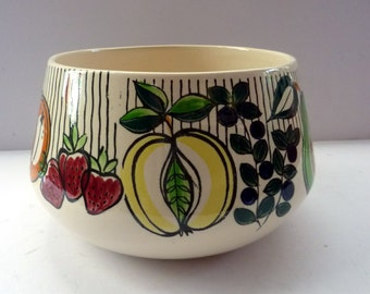 Rare Mid Century SWEDISH JIE GANTOFTA Bowl, with abstract fruit designs all around.