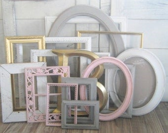 Pink and Gray Frame Set ~ Gallery Wall Nursery Frame Set  Girl's Room Decor Picture Frames Nursery Decor Wall Collage Farmhouse Frames Blush