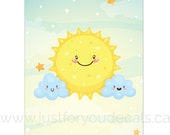 Happy Sun and Cloud Poster - Inspirational Poster, Nursery Wall Art - Playroom Poster - Poster Nursery Art, Alphabet Poster - 24-0002