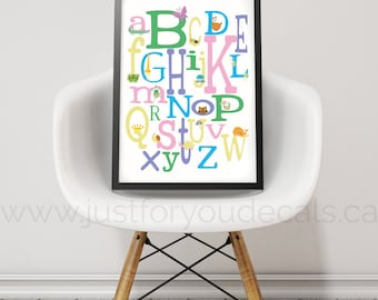 Alphabet Poster - Nursery Wall Art - Playroom Poster - Alphabet Wall Art - Alphabet Nursery Art - Alphabet Nursery - Nursery Art - 22-0024