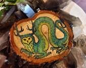 Owl Dragon Spirit Critter- mixed media original art on hand cut oak