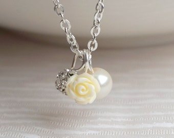 Ivory Bridesmaid Jewelry Flower Girl necklace Pearl necklace Ivory Rose necklace Rose and Pearl necklace Flower Girl jewelry Flower necklace