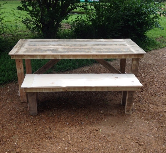 Rustic farmhouse table picnic table solid wood by for Solid wood farmhouse table