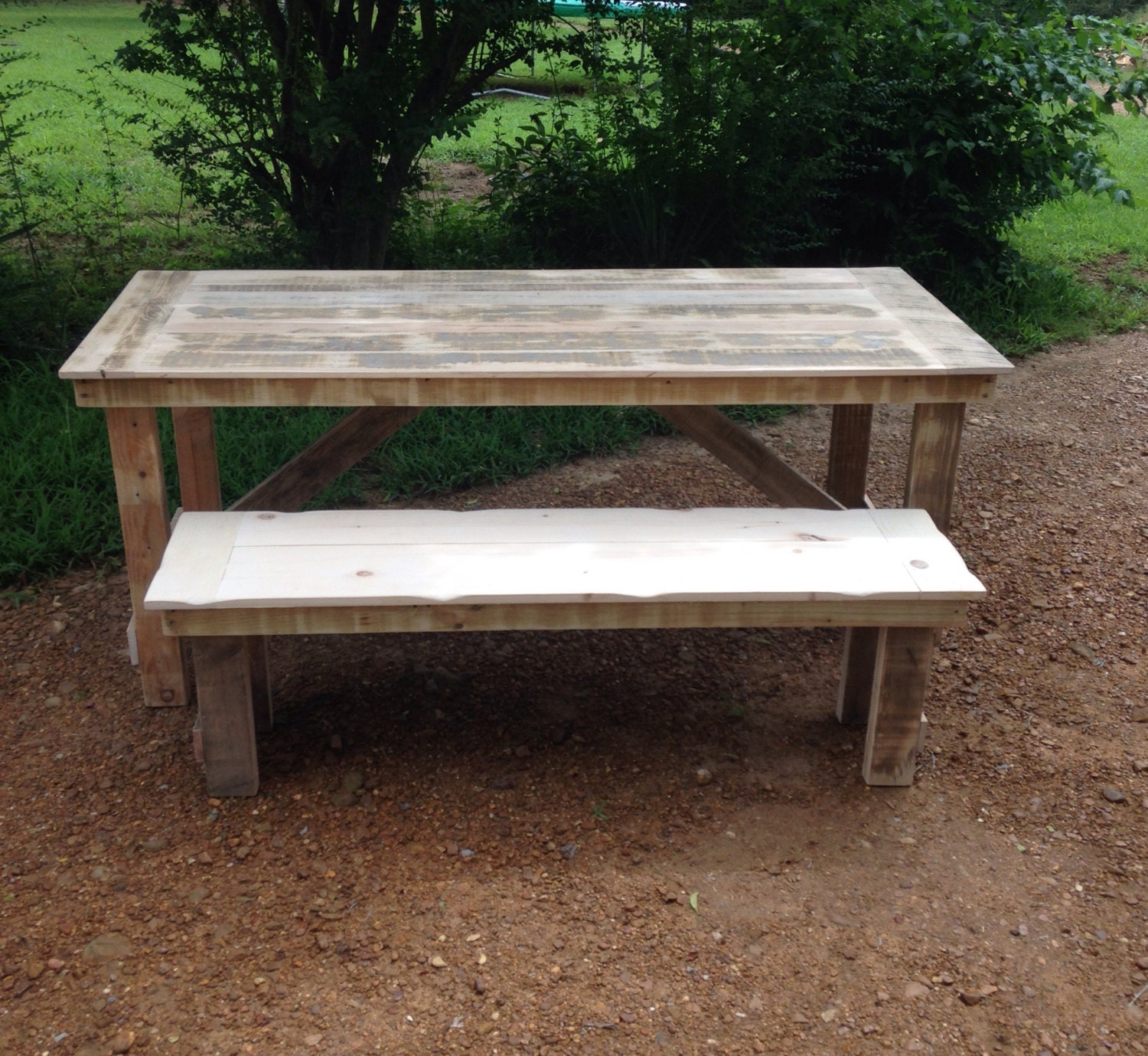 rustic farmhouse table picnic table solid wood by serenevillage. Black Bedroom Furniture Sets. Home Design Ideas