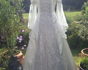 Bespoke silver cold shoulder pre raphaelite Accolade  fairy medieval renaissance  pagan Handfasting celtic wedding gown / dress 10 TO 14