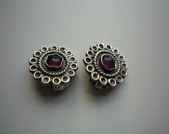 Vintage Mexico 925 Sterling Silver Amethyst Round Clip On Earrings