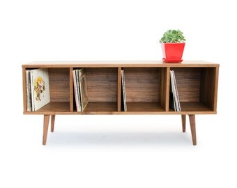 walnut record storage mid century modern credenza solid wood media console danish modern - Mad Men Sofa