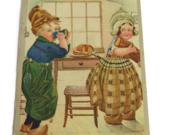 Illustrated Postcard . Vintage Funny Postcard . Dutch Boy and Girl . Vintage Postcard . Retro Postcards . Dissipation . Kids Postcard .