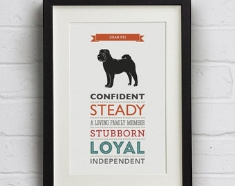 SALE 25% Off Shar Pei Dog Breed Traits Print - Great gift for Shar Pei Owners