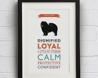 SALE 25% Off Chow Chow Dog Breed Traits Print - Great gift for Chow Chow Owners!