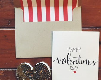 hand-lettered Happy Valentines Day card