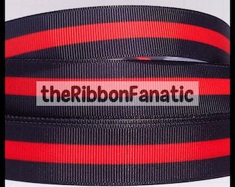 """5 yds 7/8"""" Thin RED Line Firefighters Lives Matter Fireman Firemen Firefighter Grosgrain Ribbon"""