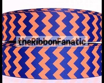 "5 yds 1.5"" Royal Blue and Orange Chevron Striped Grosgrain Ribbon"