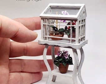 Greenhouse. Dollhouse miniature greenhouse. Greenhouse on stand.