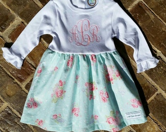 Girls Ruffled Mint Colored Floral Dress with Embroidered Monogram (can be made in a onesie or shirt)