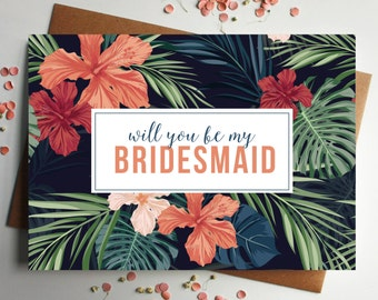 Will you be my Bridesmaid tropical Card