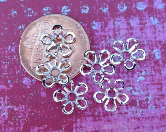 Silver Plate Flower 9mm Bead Caps, 24 Caps - Item 2186