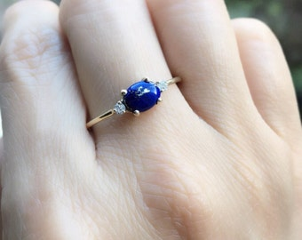 Oval lapis ring, three stone ring, lapis and diamond ring, 14k gold lapis ring