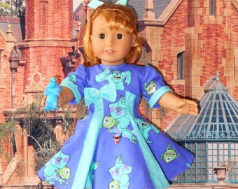 """Handmade for 18"""" American Girl Doll DISNEY MONSTERS INC Dress 100% Cotton Fabric  Fully Lined  Hidden Pocket with P.V.C. Monsters figure"""