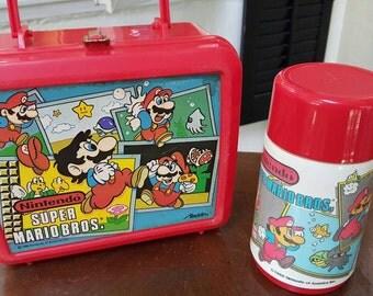 1988 Nintendo  Super Mario Bros. Lunch box and Thermos.
