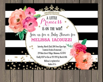Princess Baby Shower Invitation, Black & White Stripe Floral Baby Shower Invite, Gold Glitter Watercolor Baby Shower