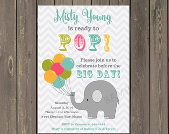 Elephant Baby Shower Invitation, Ready to Pop Baby Shower Invitation, Balloons Baby Shower Invite, About to Pop Shower, Gender Neutral