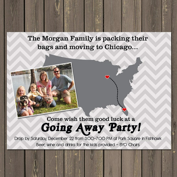 Going Away Party Invitation, Moving Farewell Party Invitation, Moving Announcement, Bon Voyage Party, Retirement Invitation
