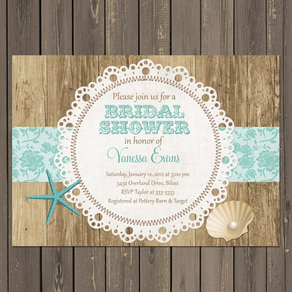 Beach Bridal Shower Invitation Rustic