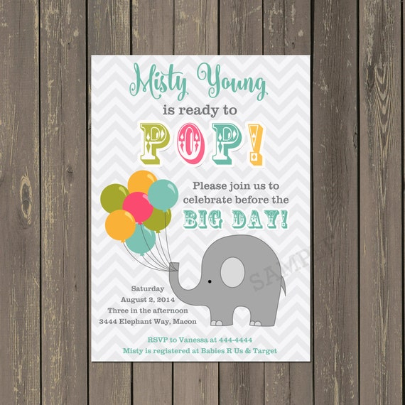 Elephant Baby Shower Invitation Ready To Pop Baby Shower Invitation