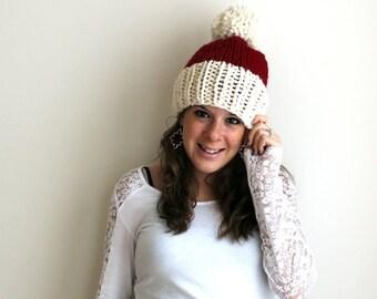 Pre-Fall SALE Christmas Santa Hat Red Pom Knit Holiday- Chesapeake Hat