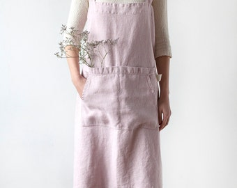 Rose Pinafore Stone Washed Linen Apron
