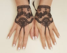 Black or ivory, light beige tulle lace glove embroidery bridal  wedding fingerless burlesque body tattoo romantic bridesmaid glove 263