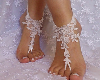 Free ship bridal  lace  barefoot sandal anklet Beach wedding barefoot sandals