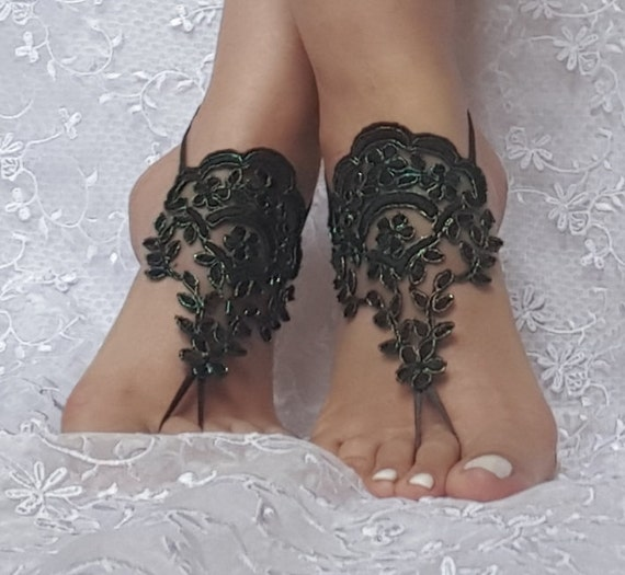 Neon green Black lace barefoot sandal french lace  bridal barefoot  lace wedding fingerless black burlesque  cabaret belly dance shoe