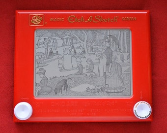 Georges Seurat signed Etch A Sketch print (pick your size!) - Sunday Afternoon on the Island of La Grande Jatte