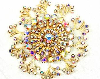 Huge AB Brooch, 1950s  Atomic Floral Design with Glass Crystal Rhinestones, Vintage