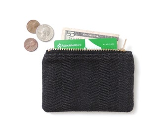 Wallet Coin Purse Zipper Pouch Black Herringbone