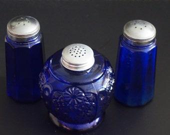 Vintage, Set of Three Cobalt Blue Salt and Pepper Shakers