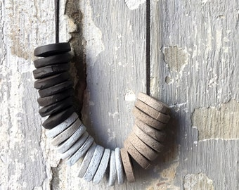 Handmade Ceramic  Necklace, Ceramic Jewelry,  Gray, Black ,Light blue, Beaded Necklace,  Minimal Jewelry