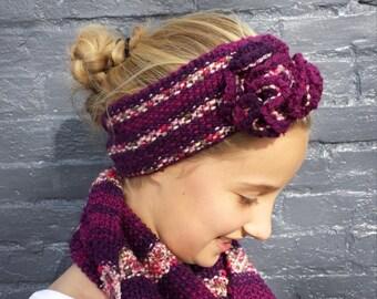 Purple Knit Flower Headband and Scarf Set