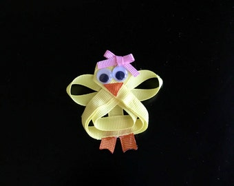 Easter chick ribbon sculpture bow