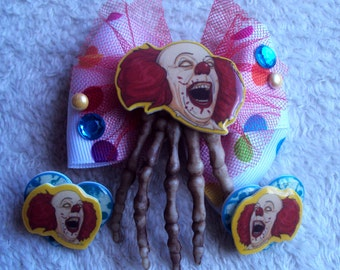 Pennywise Hair Bow and Earrings Set, Stephen King's IT, wicked killer clowns, horror, unique